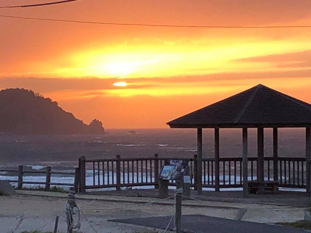 岩美町東浜海岸の夕日定点観測