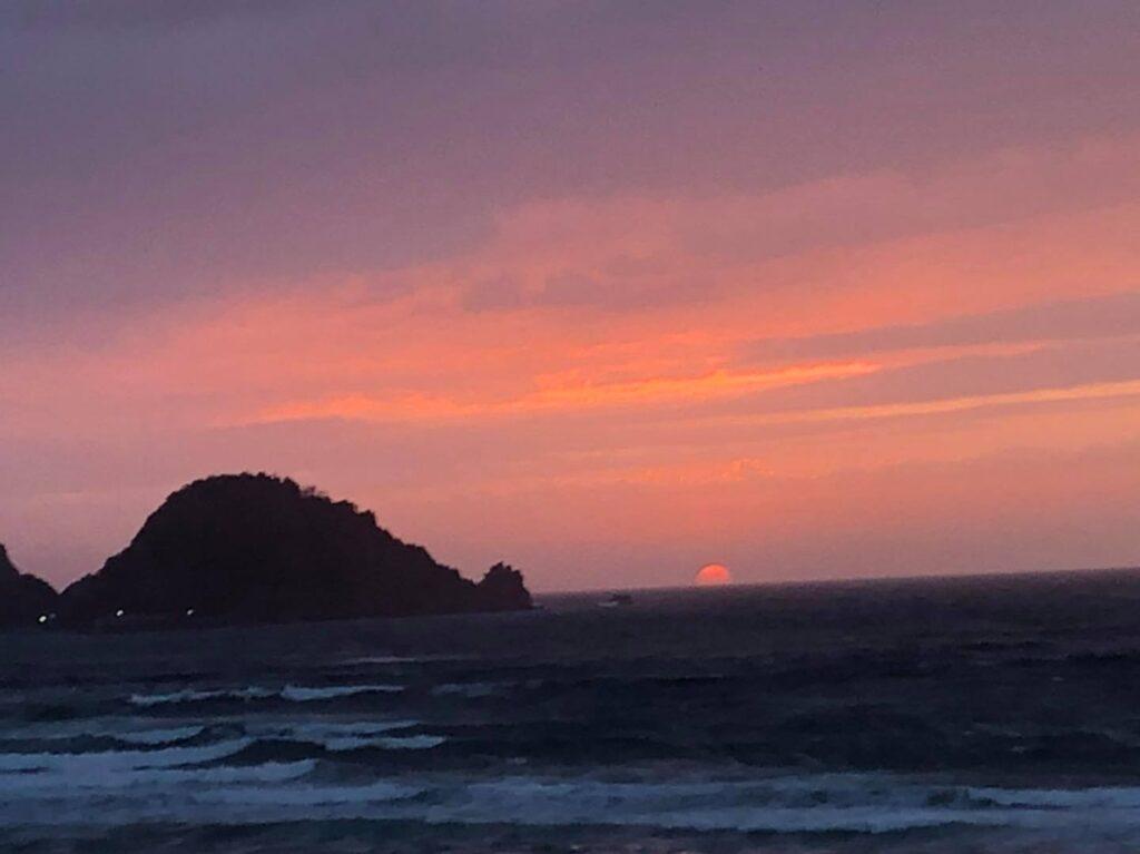 岩美町東浜海岸の夕日定点観測5-25