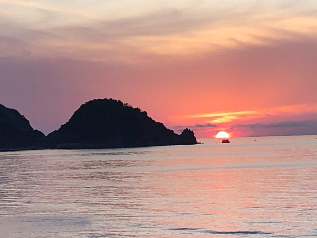 東浜海夕日